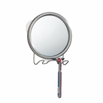 6 x 2 x 7 in. Shower Shaving Suction Mirror with Razor Holder Brushed Steel