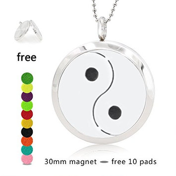 Silver Essential Oil Diffuser Necklace- YouMiYa Qiankun Shape Aromatherapy Essential Oil Diffuser Locket Magnetic Perfume 316L Stainless Steel Pendant For...
