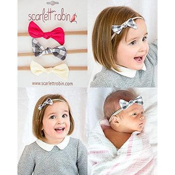 3 Baby Girl Hair Bows on Nylon Headbands   Fabric