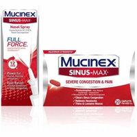 2 Pack - Mucinex Sinus-Max Full Force Nasal Spray 0.75 oz & Sinus-Max Severe Congestion Relief Caplets, 20 ct