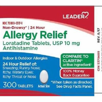 Leader 24 Hour Allergy Relief Tablets, 10mg, 300ct