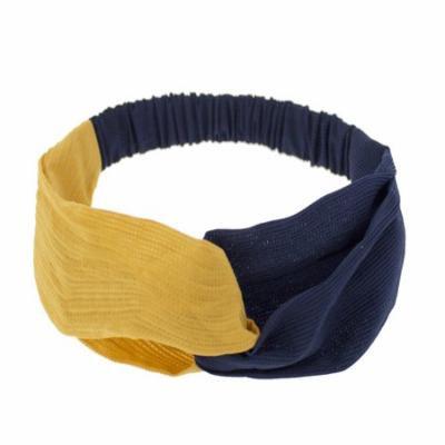 Stylish Womens Girls Two Tone Twisted Knot Headband Head Wrap Elastic Turban (2 Pack, Yellow+Navy)
