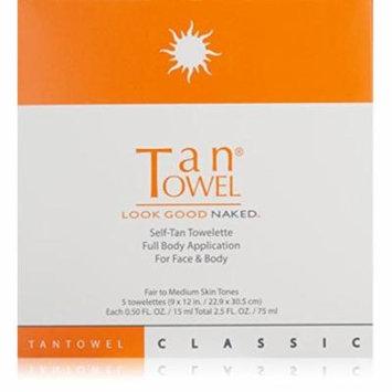 Tan Towel Self Tan Towelette Classic 5 Count, PACK OF 12