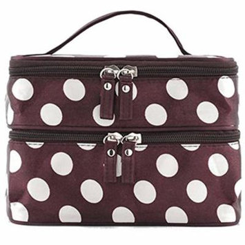 Polka Dot Double Layer Toiletry Cosmetic Bag Organizer With Mirror For Women