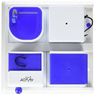 Poker Box Activity for Cats, Blue & White