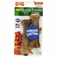 Nylabone Healthy Edibles Wholesome Dog Chews - Bacon Flavor Petite (2 Pack) - Pack of 3