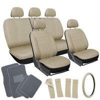 Istiloshoppe Car Accessories 20pc Set All Beige Tan Car Seat Cover Wheel Pad+Head Rest + gray Floor Mats 1A