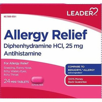 Leader Allergy Relief Mini Tablets, 25mg, 24ct