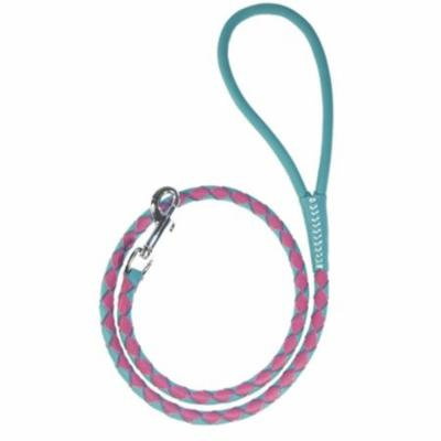 Round Braided Leather Leash, Teal & Pink - 0.25 W x 48 L in.