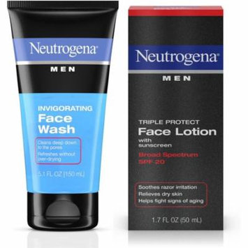 Neutrogena Men Triple Protect Face Lotion With Sunscreen, SPF 20 1.70 oz & Neutrogena Men Oil-Free Invigorating Foaming