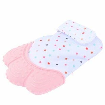 Pretty See Sounding Baby Teething Mitten Hygienic Baby Soothing Mitt Practical Silicone Teether Mitten for Self-soothing Pain Relief, Pink