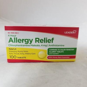 Leader 4 Hour Allergy Relief, 4mg, 100ct