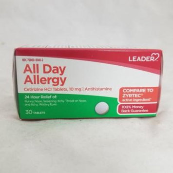 Leader All Day Allergy Cetrizine 10mg Tablets, 30ct