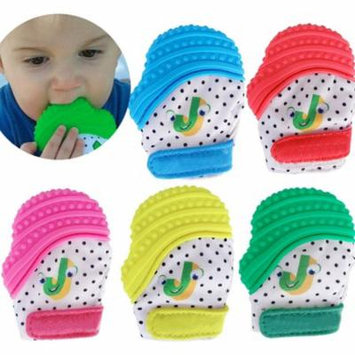 Infant Bite Soft Silicone Mitt Baby Teething Mitten Stays on Babyies' Hand w/ Gloves for Self Soothing Pain Relief