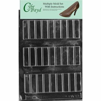 2 Oz. Break Apart Bar Chocolate Candy Mold with Exclusive Cybrtrayd Copyrighted Molding Instructions, Pack of 3