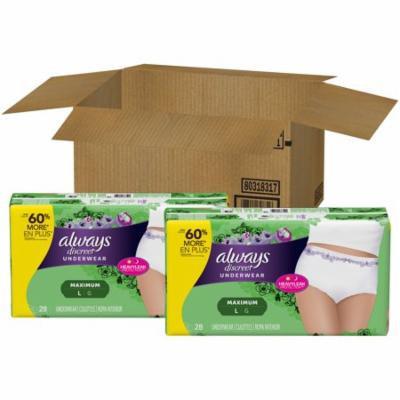 Always Discreet Incontinence Underwear for Women, Maximum, L, 56 Ct
