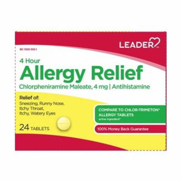 Leader 4hr Allergy Relief Tablets, 4mg, 24ct