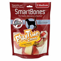 SmartBones PlayTime Chews for Dogs - Chicken Medium - 5 Pack - (2 Diameter Chews) - Pack of 3