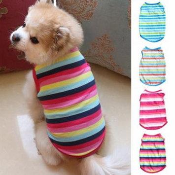 Girl12Queen Pet Dog Clothes Fashion Colorful Stripe T-Shirt Cat Puppy Bulldog Soft Vest