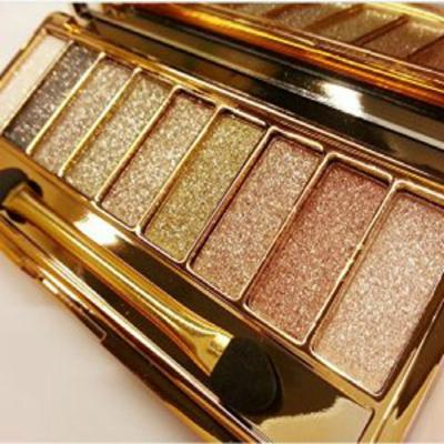 Sparkle Eyeshadow Palette&9 Colors Shimmer Makeup Palette & Makeup Cosmetic Brush Set &Gold Glitter Eyeshadow Palette Highly Shining Pigmented Diamond Eyeshadow&9 Color Eyeshadow 6# (2pc)