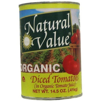 Natural Value Organic Diced Tomatoes in Tomato Juice, 14.5 Ounce Cans (Pack of 12)