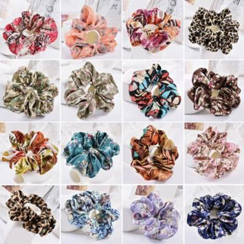 Girl12Queen Women Hair Ties Scrunchies Ring Elastic Floral Leopard Ponytail Holder Hairband