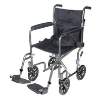 Drive Medical Lightweight Steel Transport Wheelchair with Fixed Full Arms