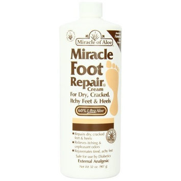 Miracle of Aloe Miracle Foot Repair Cream 32 Oz As Seen On TV Guarantees to Repair Dry, Cracked Feet & Heels! Helps Stop Itching & Unpleasant Odors Quick, Fast, Easy and Completely Painless! Contains 60% Ultra Aloe, All Natural Formula. Penetrates Deep Through Layers of Skin, Speeds Up Cell Renewal, Remoisturizes & Repairs Skin Guaranteed!