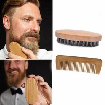 DZT1968 Men Boar Hair Bristle Beard Mustache Brush Military Hard Round Wood And Comb
