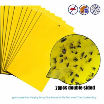 Outtop 20Pcs Strong Flies Traps Bugs Sticky Board Catching Aphid Insects Pest Killer