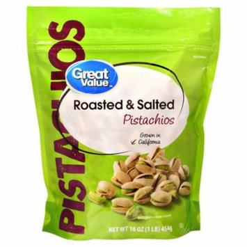 Great Value Pistachios, Roasted & Salted, 16 oz