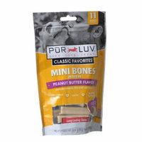 Pur Luv Mini Bones Peanut Butter Flavor Dog Treats 11 Pack - Pack of 3