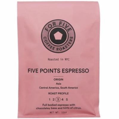 6 Pack - For Five Coffee Roasters Five Points Espresso Ground 12 oz