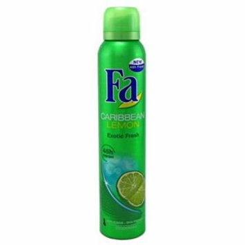 4 Pack FA Deodorant Spray Effective 24 Hour Protection Caribbean Lemon 6.75oz Ea