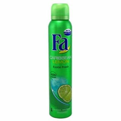 4 Pack FA Deodorant Spray Effective 24 Hour Protection Caribbean Lemon 6.75oz Ea