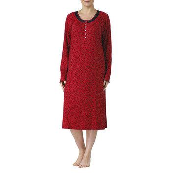 women's long sleeve V-neck fluid knit sleep gowns (size s-4x)
