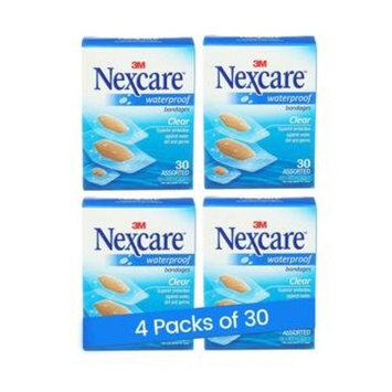 Nexcare Waterproof Clear Bandages Assorted Sizes, 30 Count (Pack of 4)