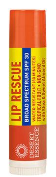 Lip Balm-Lip Rescue Tropical Fruit SPF 30 Desert Essence .15 oz Lip Balm