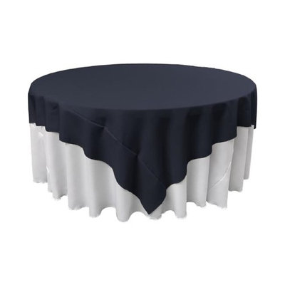LA Linen TCpop90x90-NavyP72 Polyester Poplin Square Tablecloth Navy - 90 x 90 in.