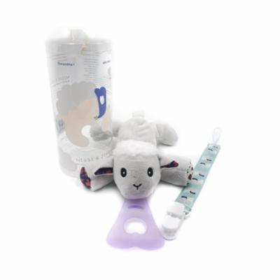 Nissi & Jireh 5 In 1 Pacifier holder plush toy Teether, Sheep