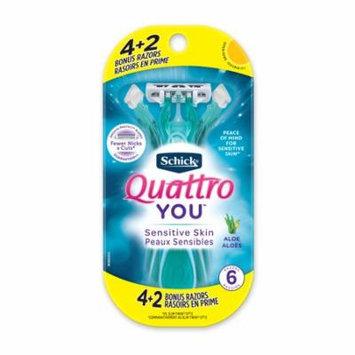 Schick Quattro YOU Sensitive Disposable Razor for Women, 4 Count + 2 Bonus