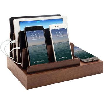 Great Useful Stuff G.U.S. Charging Desk Organizer with Wireless Smart Charging Pad + 6-USB Ports - Polished Walnut
