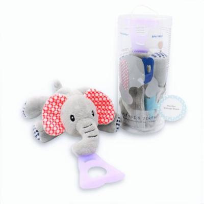 Nissi & Jireh 4 In 1 Pacifier holder plush toy Teether, Elephant