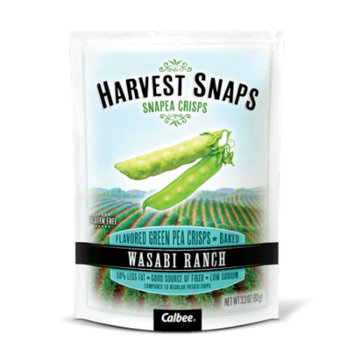 Calbee Harvest Snaps Snapea Crisps Wasabi Ranch Baked Green Pea Crisps 3.3 OZ (Pack of 12)