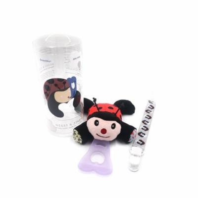 Nissi & Jireh 5 In 1 Pacifier holder plush toy Teether, ladybug