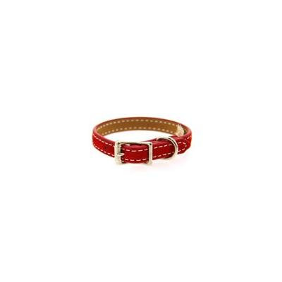 Saratoga Suede Leather Dog Collar by Auburn Leather - Red 1
