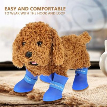4pcs Silicone Pet Dog Cute Waterproof Boots Anti-slip Protective Rain Shoes, Pet Anti-slip Rain Shoes, Dog Waterproof Boots