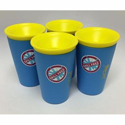 Wow Cup for Kids - NEW Innovative 360 Spill Free Drinking Cup - BPA Free - 9 Ounce (4 Pack, Blue)