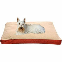 Carolina Pet 012080 F Four Season Orthopedic Foam Jamison Pet Bed with Cashmere Berber Top & Contrast Cording - Barn Red with Khaki Cord, Large