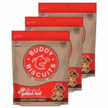 Cloud Star Buddy Biscuits 6 oz Soft & Chewy Dog Treats - Grilled Beef 3 Pack